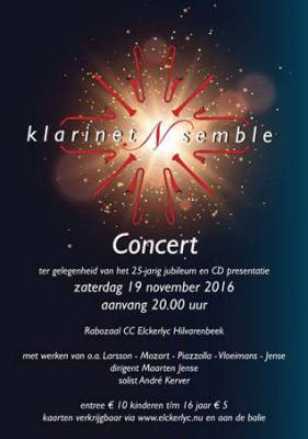 KlarinetNsemble Elckerlyc Zaterdagavond 19 november 20.00